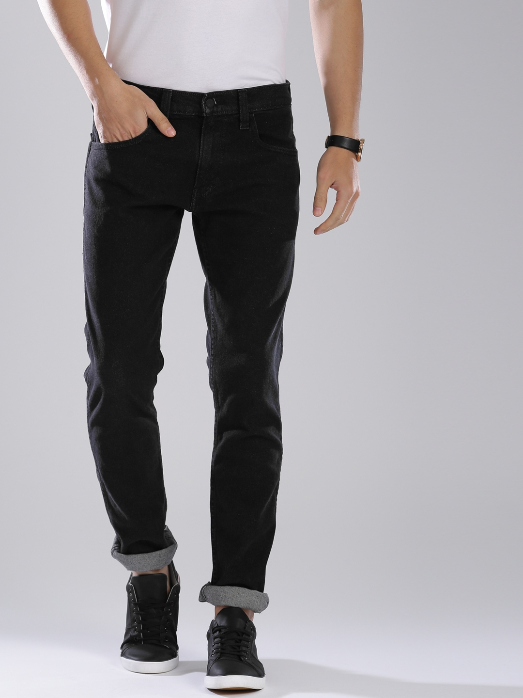 ef97b1e4 Levis Men Black 65504 Skinny Fit Low Rise Clean Look Stretchable