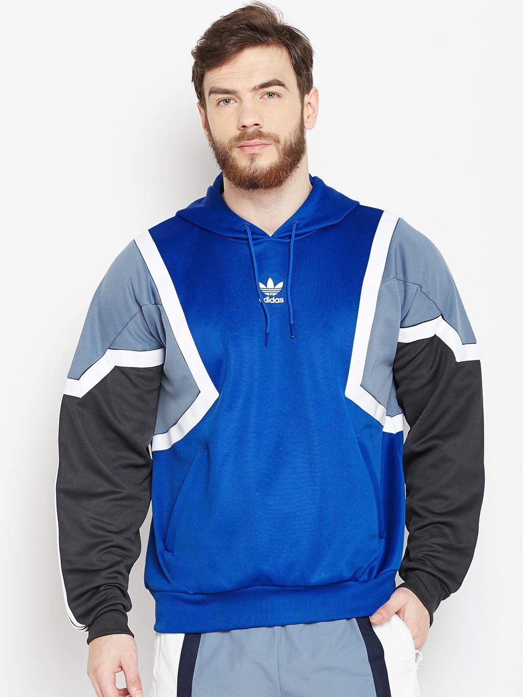 4341da4dacad Buy ADIDAS Originals Men Blue Nova Colourblocked Hooded Sweatshirt ...