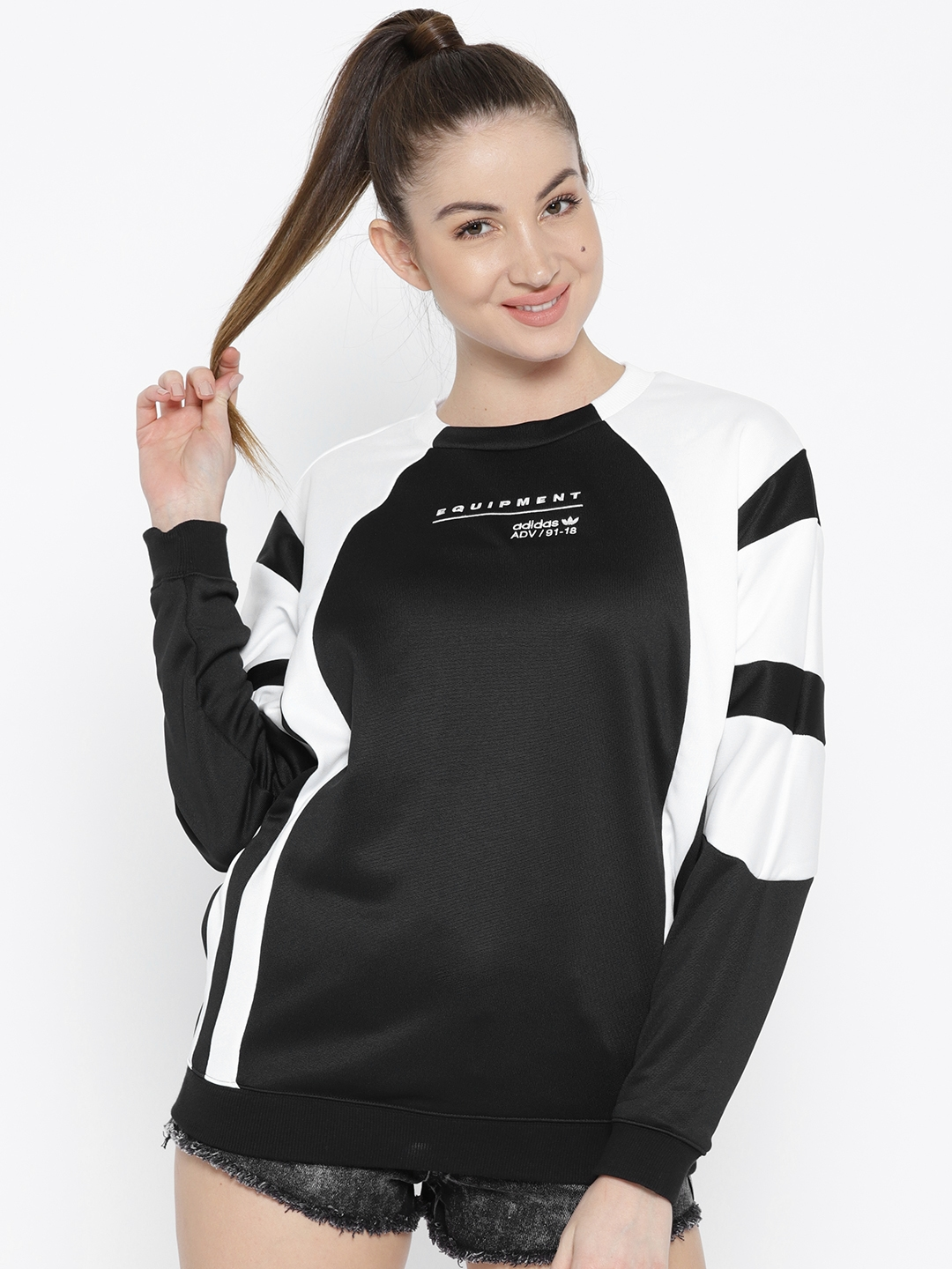c4efd2ec ADIDAS Originals Women Black & White Equipment OG Colourblocked Sweatshirt