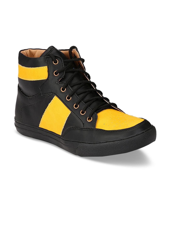 6c44193cc50fab Buy Guava Men Black & Yellow Flat Boots - Casual Shoes for Men ...