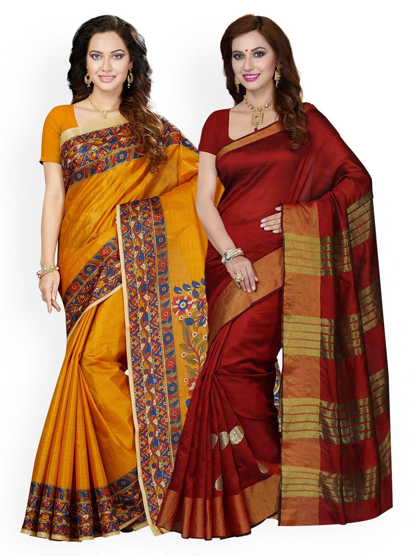 3c80b8de04 Buy Ishin Selection Of 2 Mustard & Red Art Silk Printed Bhagalpuri ...