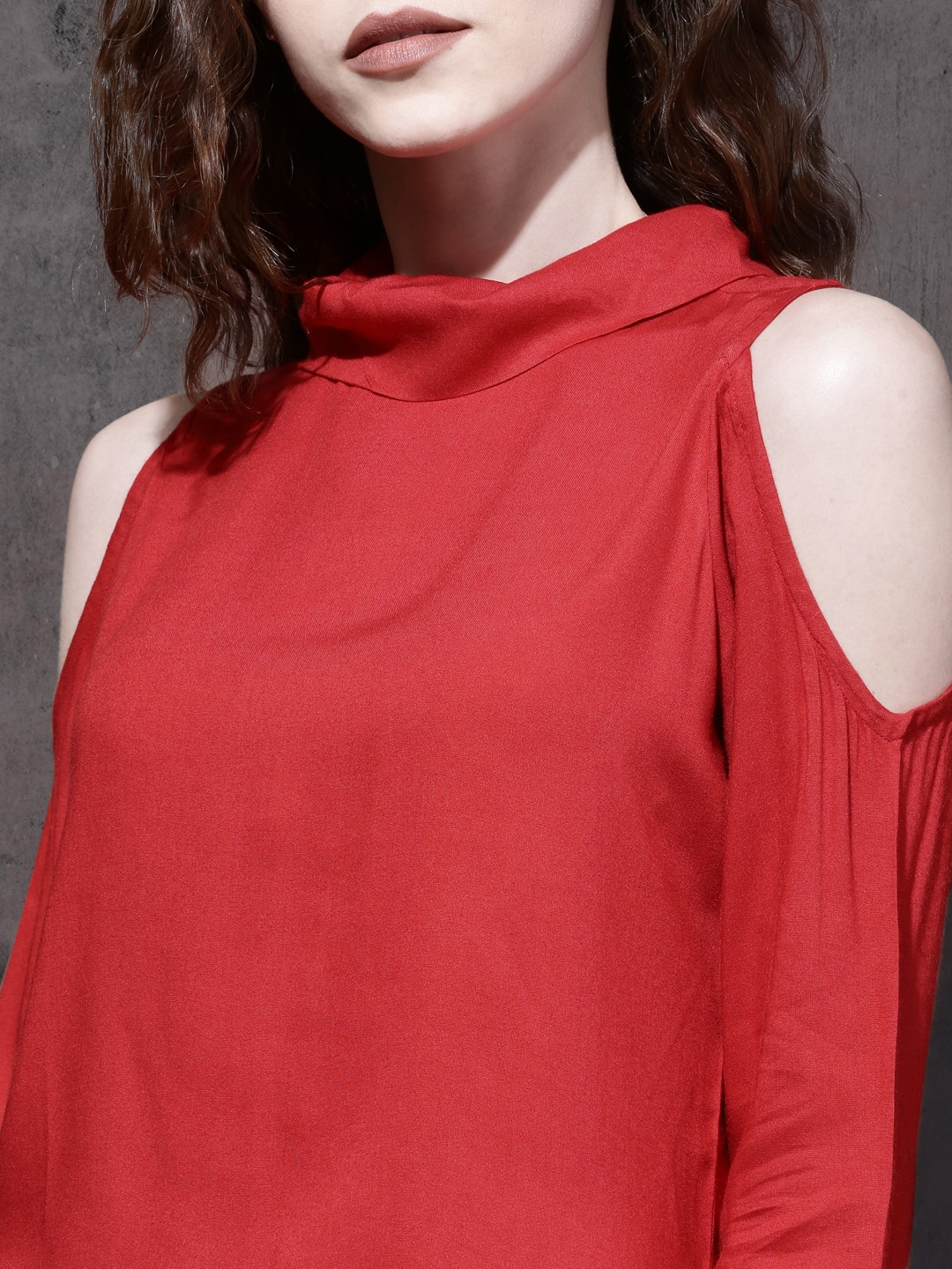 02e3f41cce80f3 Buy Roadster Women Red Solid Cold Shoulder Top - Tops for Women ...