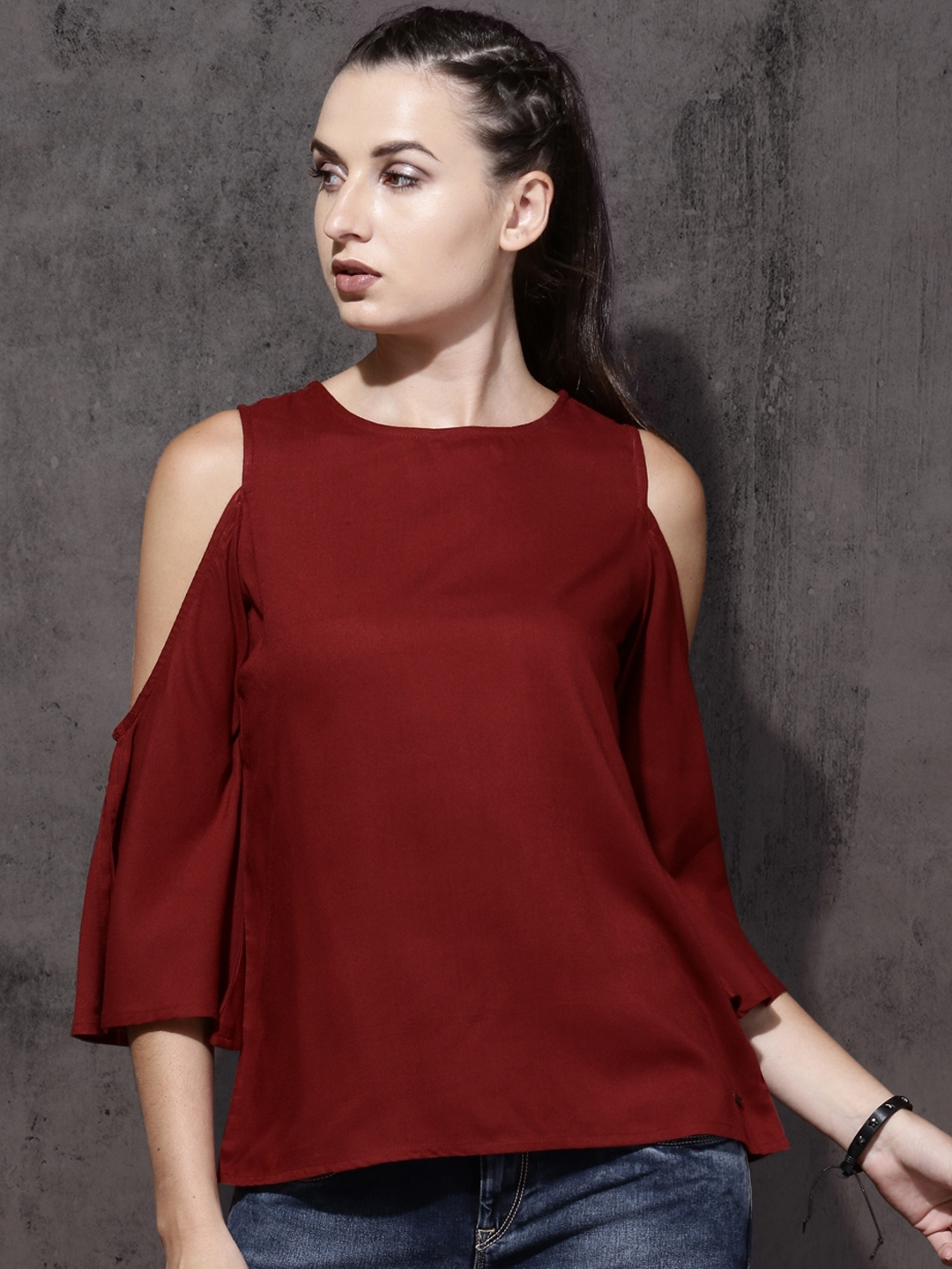 a6b45c01a24a1c Buy Roadster Women Maroon Solid Top - Tops for Women 2423520