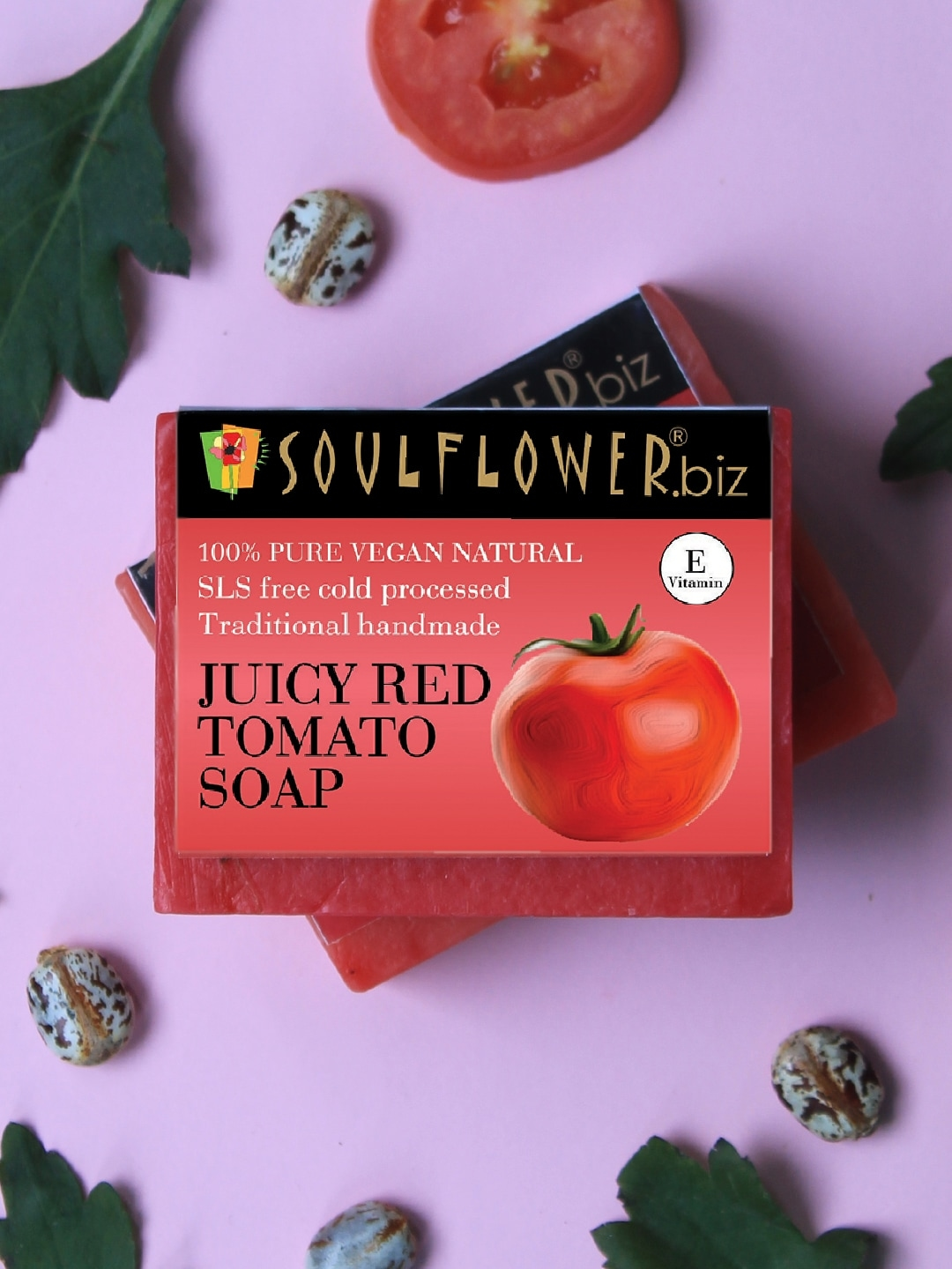 Soulflower Sustainable Unisex Juicy Red Tomato Soap   150 g