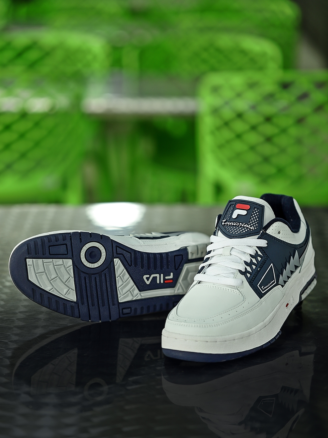 cc5fa81ff4df Buy FILA Men White   Navy Tourissimo Low Leather Sneakers - Casual ...