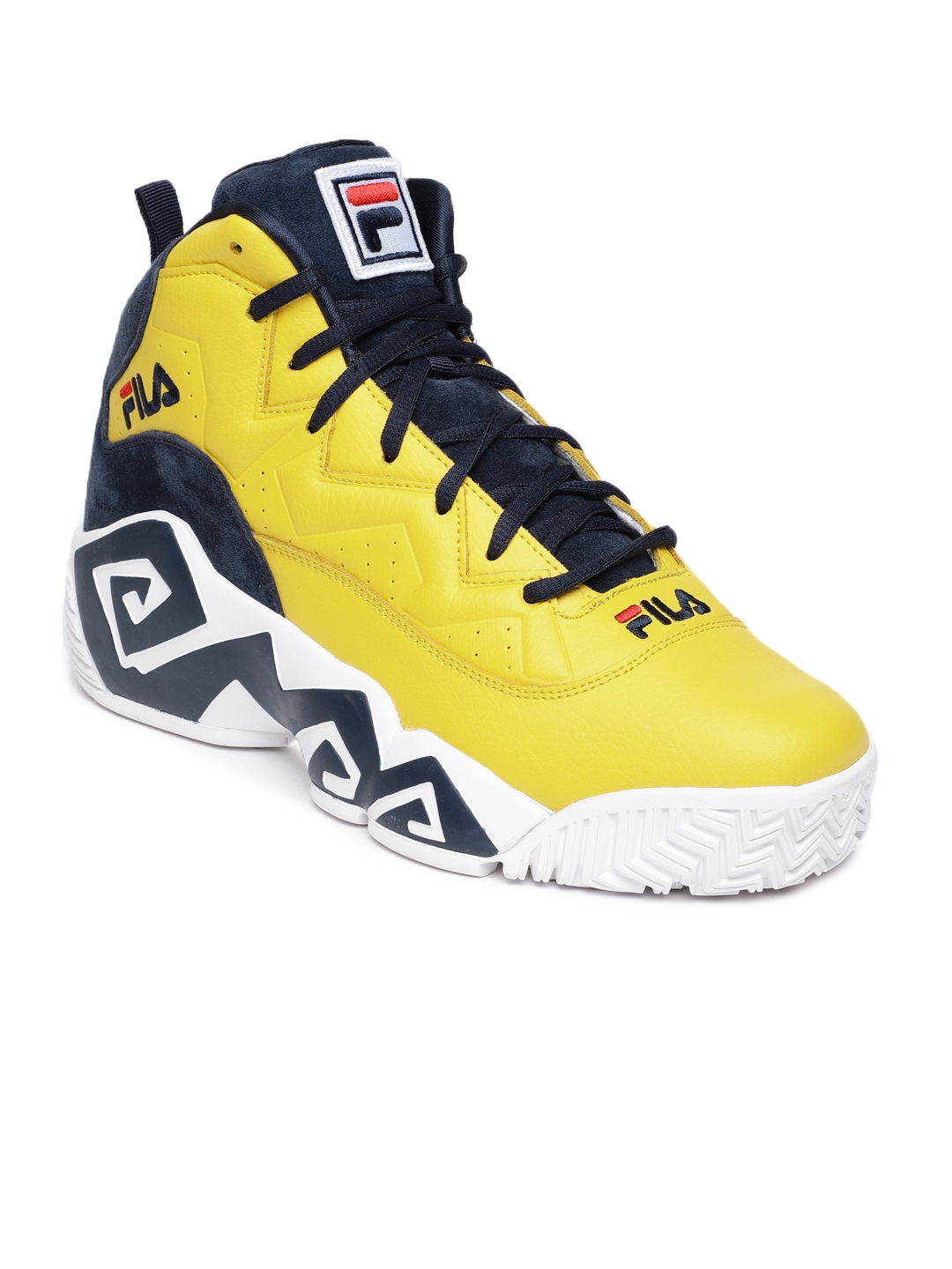 a32015725ebc Buy FILA Men Yellow Solid Synthetic Leather MB Mid Top Sneakers ...