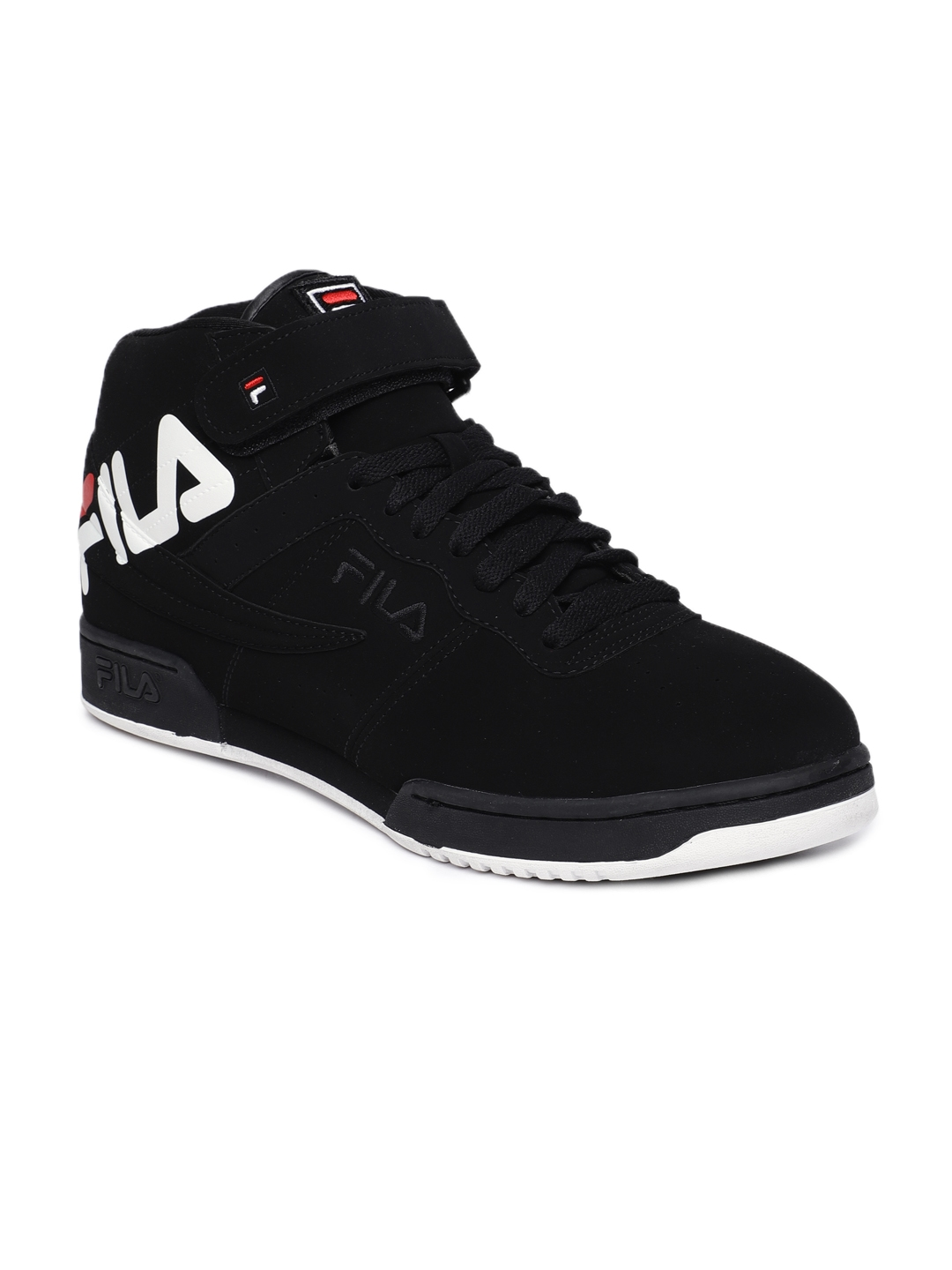 04c42901716b Buy FILA Men Black Solid Synthetic Leather Mid Top F 13 Sneakers ...