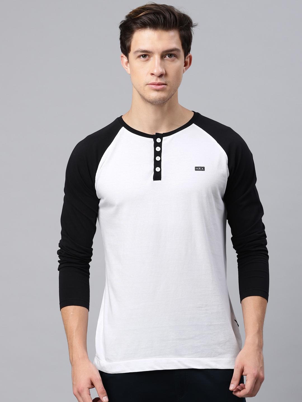 3a8a5887 Buy HRX By Hrithik Roshan Men White Solid Henley Neck T Shirt ...