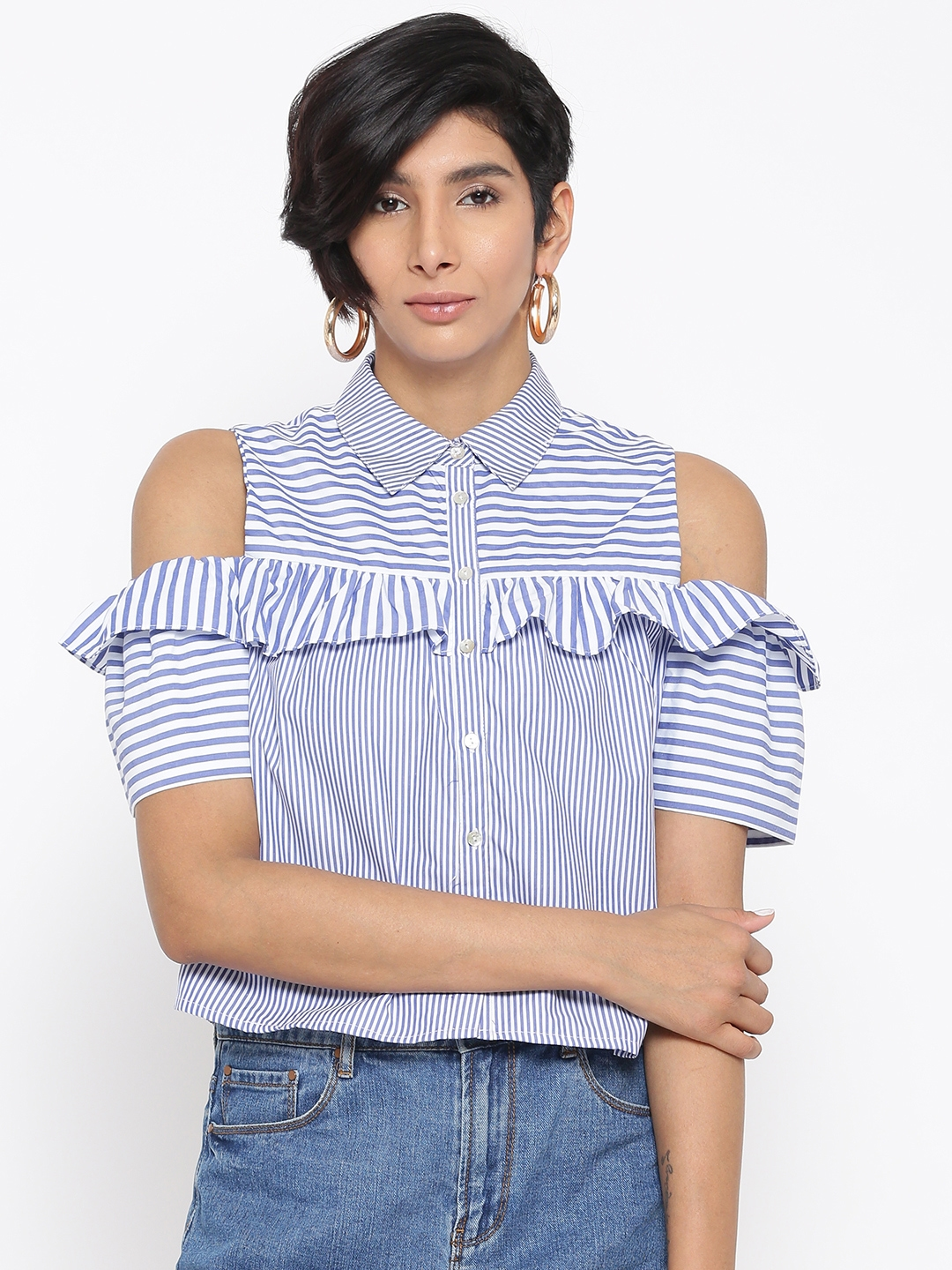 8fb6006ab9caa Buy ONLY Women White   Blue Striped Cold Shoulder Shirt Style Top ...