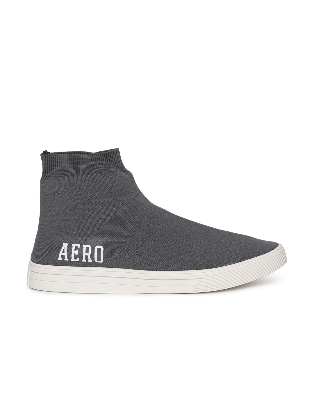7e0508b2a3d Aeropostale Men Grey Solid Suede Mid-Top Slip-On CUMMINS Sneakers