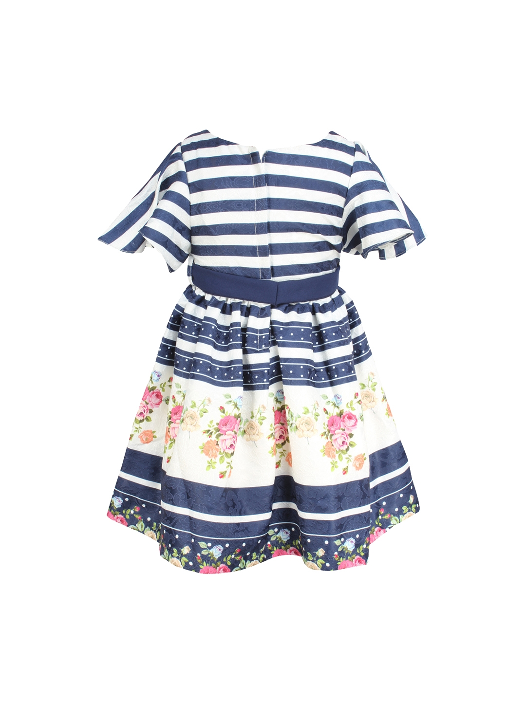 9c4e8e5e6 Buy CUTECUMBER Girls Navy Blue   White Striped A Line Dress ...