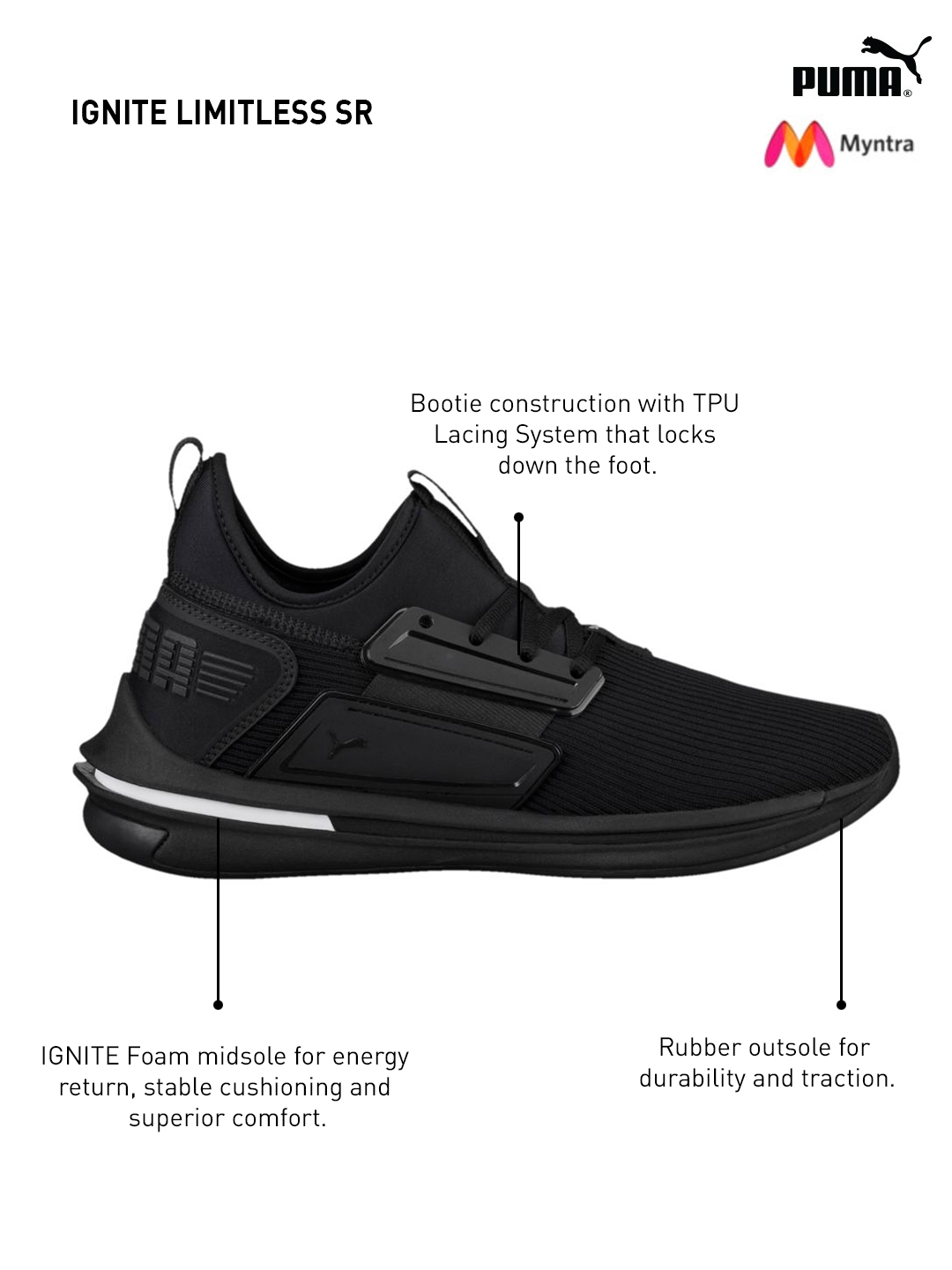 a761164ff61a Buy Puma Men Black IGNITE Limitless SR Sneakers - Casual Shoes for ...
