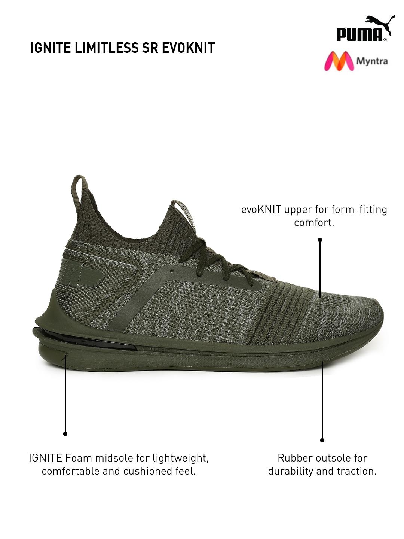 e8c7fe78a5d Buy Puma Men Olive Green IGNITE Limitless SR EvoKNIT Sneakers ...