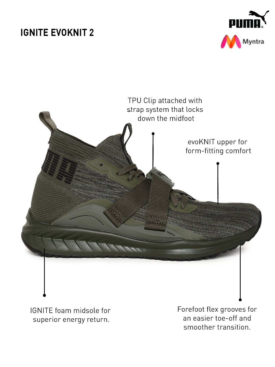 0b0468531a696d Buy Puma Men Olive Green IGNITE EvoKNIT 2 Running Shoes - Sports ...