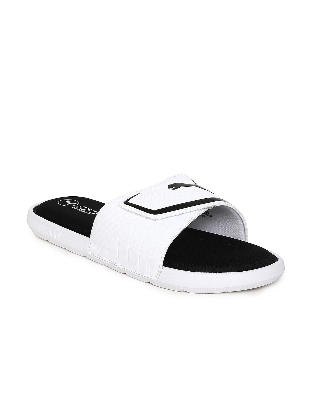 e196edd3a2a47 Buy Puma Men White   Black Starcat Sfoam Slides Sliders - Flip Flops ...