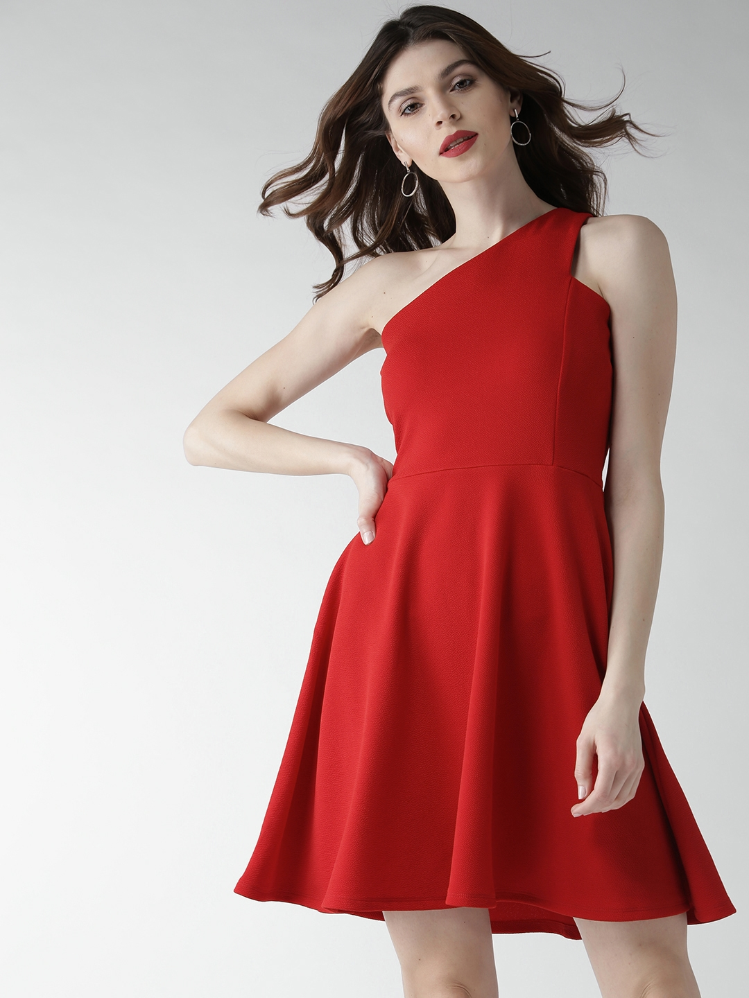 ab0f7060aa Buy 20Dresses Women Red Solid One Shoulder Fit   Flare Dress ...
