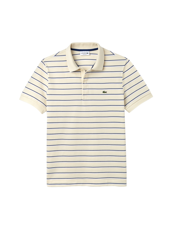 d138941f5bf Buy Lacoste Men Cream Coloured & Blue Striped Polo Collar T Shirt ...