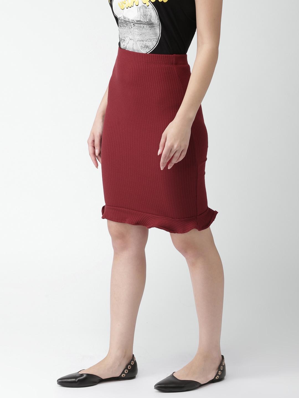 e8872bad6bc1 Buy FOREVER 21 Red Striped Pencil Skirt - Skirts for Women 2435911 ...