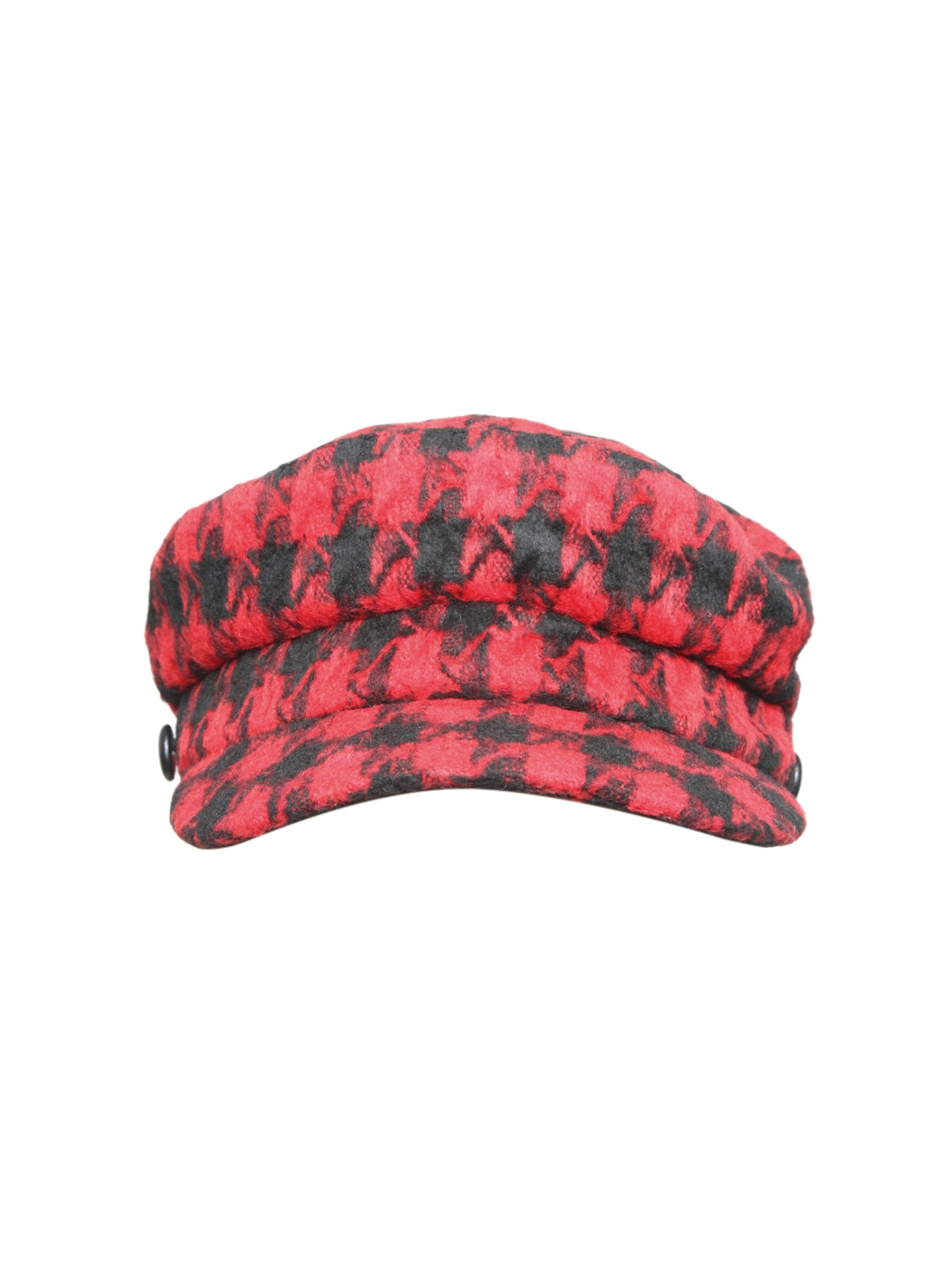 ebae395bb91 Buy FOREVER 21 Women Red   Black Houndstooth Cabby Hat - Hat for ...