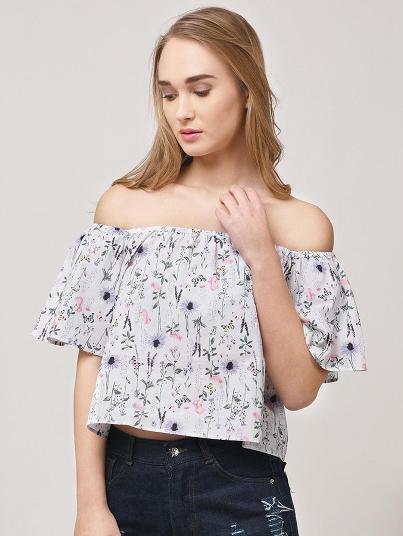 c577e4065102f6 Buy STREET 9 Women Off White   Blue Floral Print Bardot Top - Tops ...