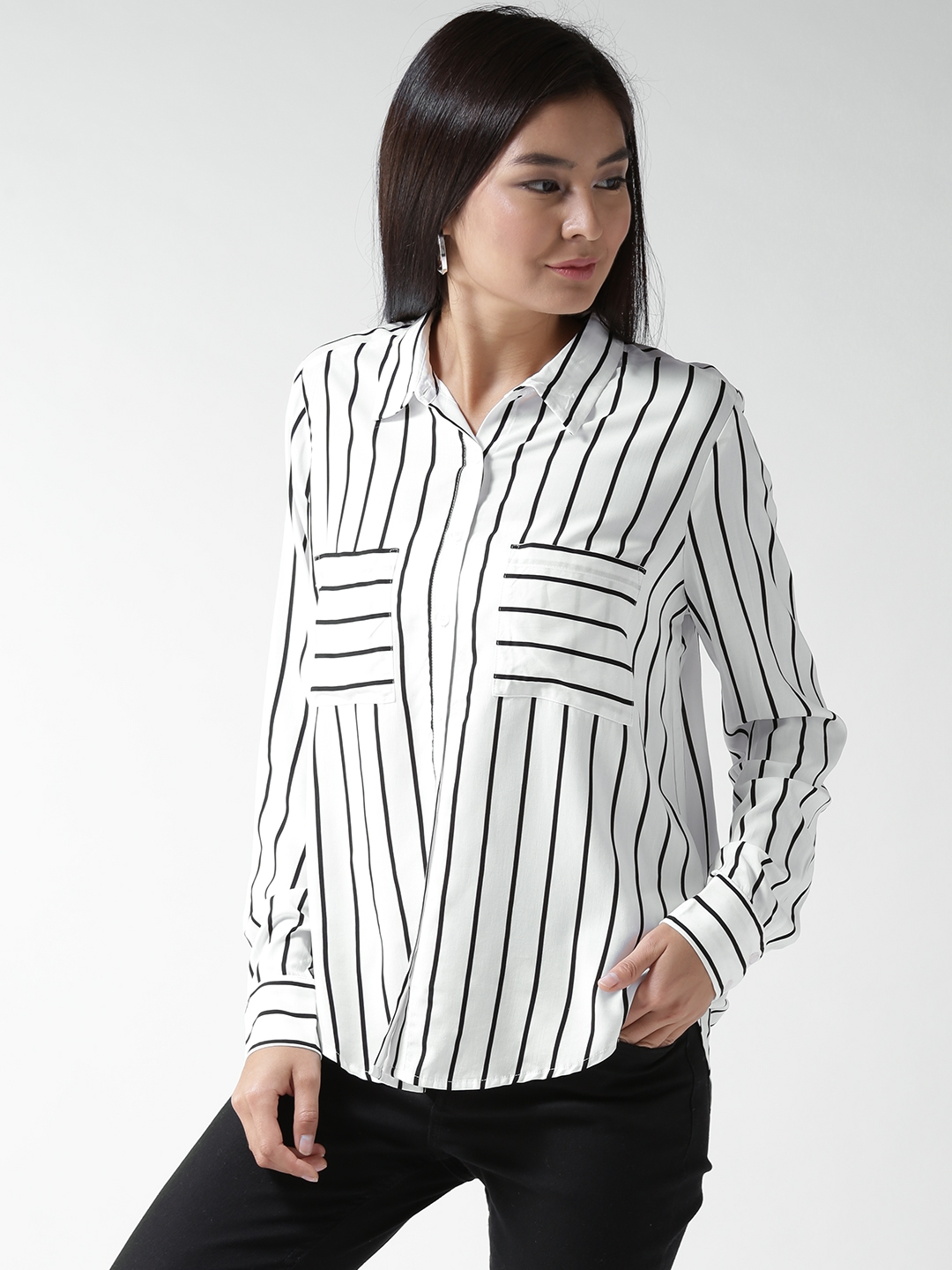 d24f4426a8a Buy FOREVER 21 Women Black   White Striped Casual Shirt - Shirts for ...