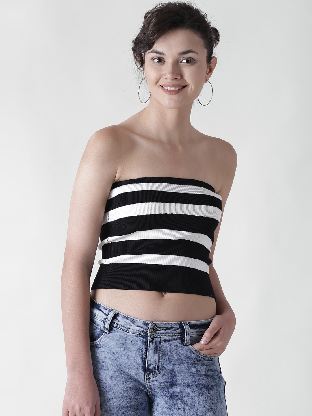 19d9f2ca564 Buy FOREVER 21 Women Black   White Striped Crop Tube Top - Tops for ...