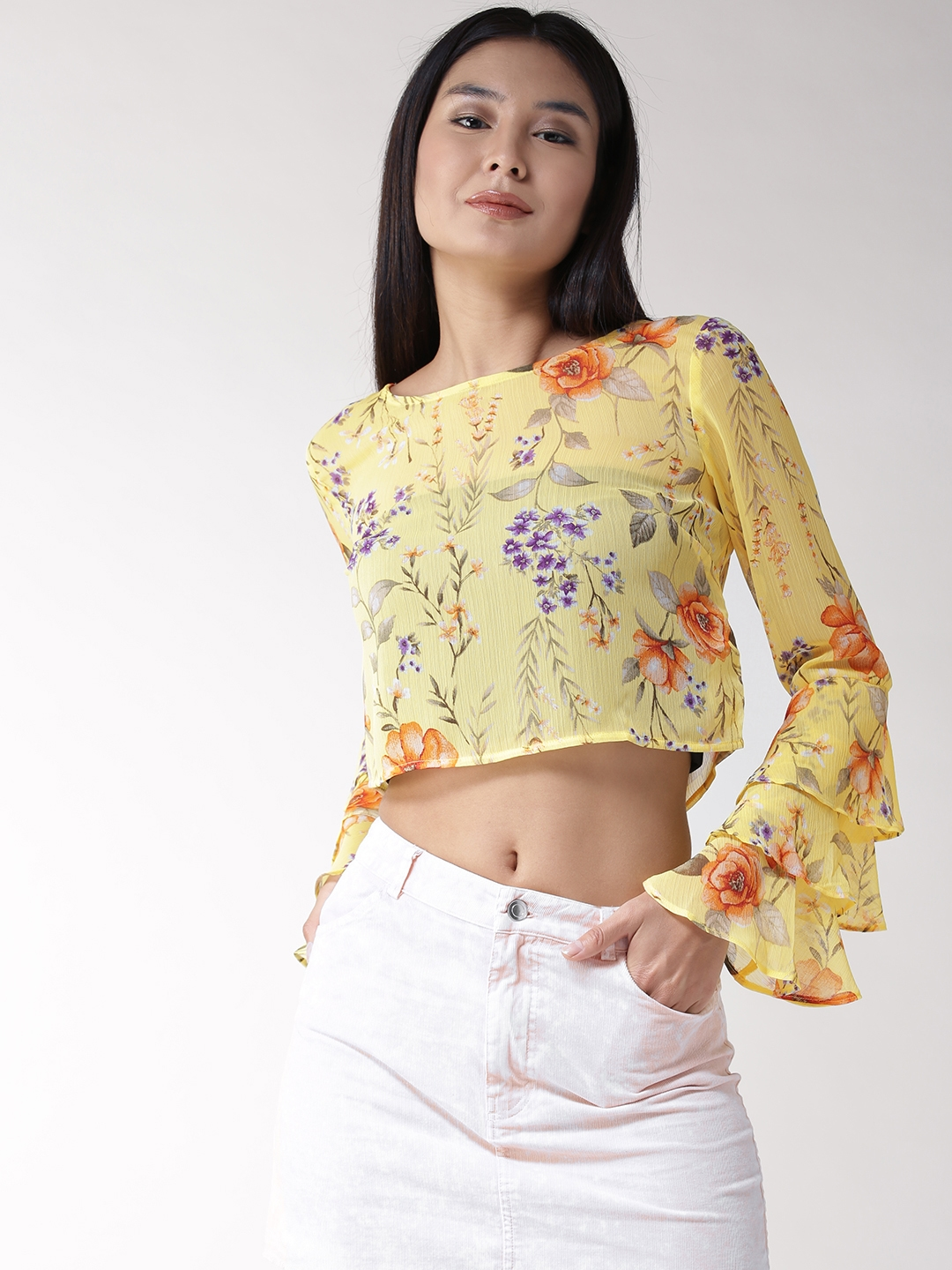 c68d71fdb0790 Buy FOREVER 21 Women Yellow Floral Print Crop Top - Tops for Women ...