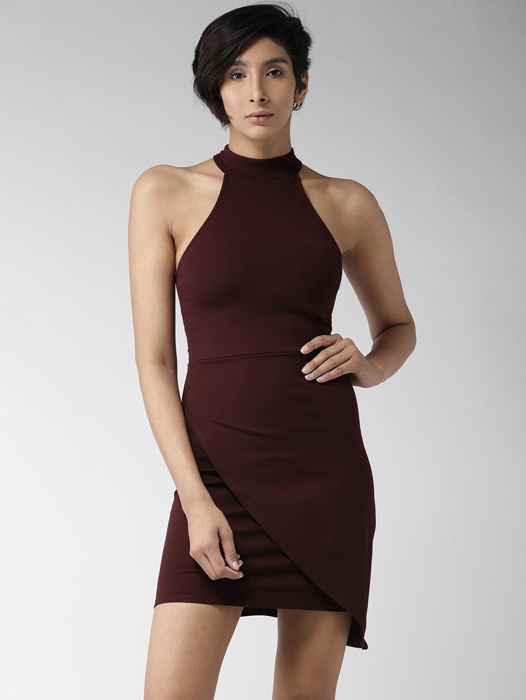 b88e29abf98d Buy FOREVER 21 Women Burgundy Solid Bodycon Dress - Dresses for ...