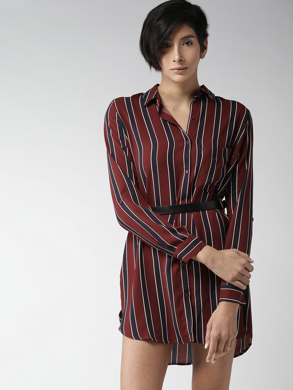 c21a1a947319 Buy FOREVER 21 Women Burgundy   Navy Striped Shirt Dress - Dresses ...