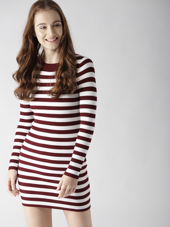 90cfbd217d6 Buy FOREVER 21 Women Burgundy   White Striped Bodycon Dress ...