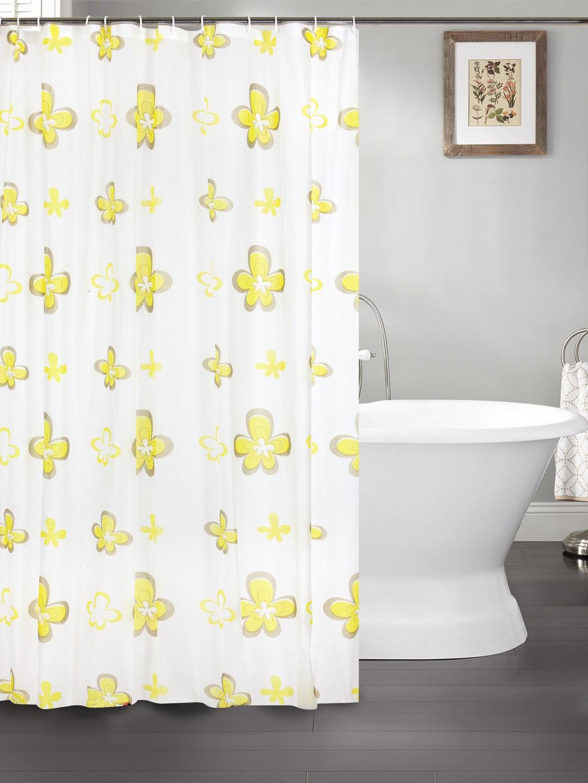 Buy Cortina White Yellow Printed Polyester Single Shower Curtain