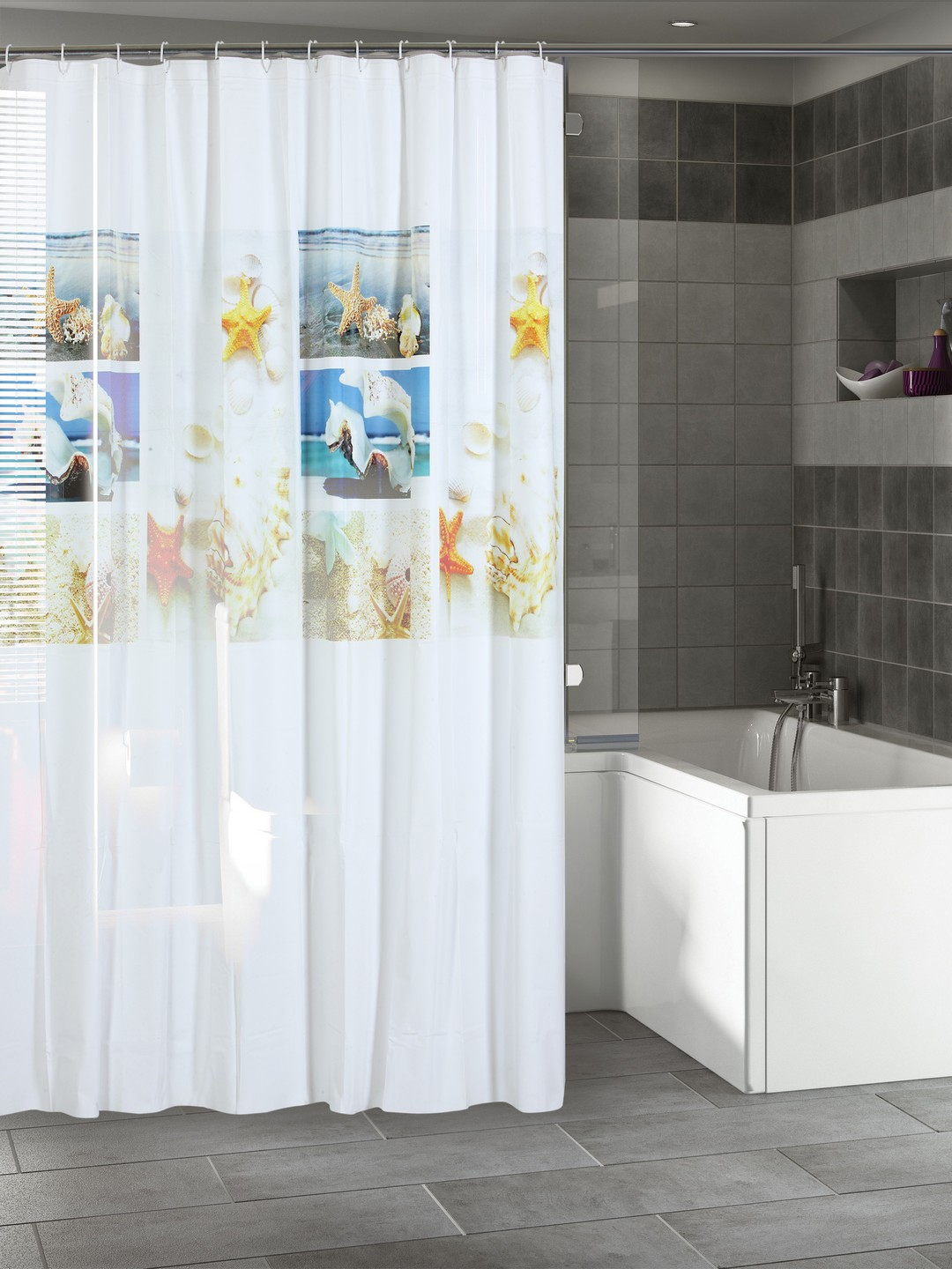 Buy Cortina White Printed Polyester Single Shower Curtain
