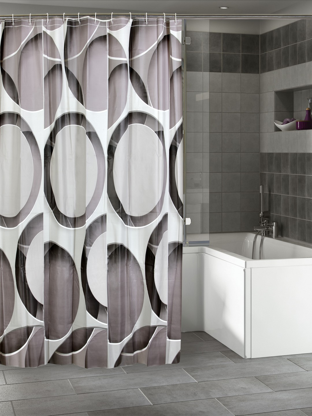 Buy Cortina White Grey Printed Polyester Single Shower Curtain