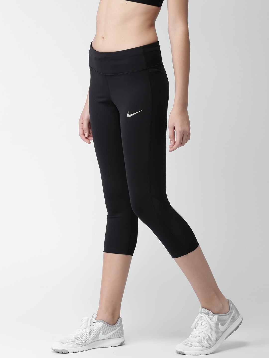bd35d85ed08f7 Nike Women Solid Black Racer Crop Running Capri With DRI-FIT Technology