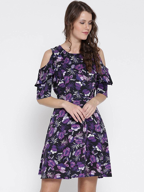 eb25adf8bfc Buy Sera Women Black   Purple Floral Print Cold Shoulder Fit   Flare ...