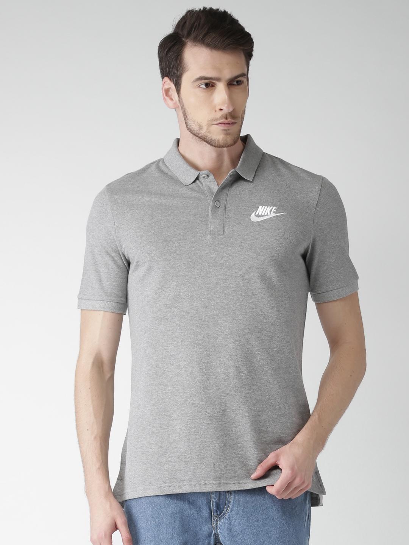 f1fc1645f ... Buy Nike Men Grey Solid Polo Collar T Shirt Tshirts for Men