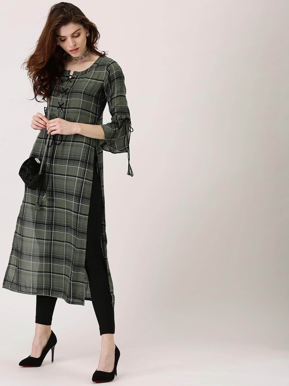 ceb2fe765 Buy Libas Women Olive Green   Black Checked Straight Kurta - Kurtas ...