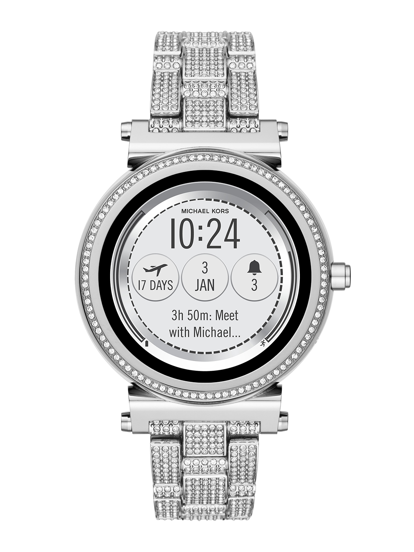 d1f35401da60 Buy Michael Kors Women Silver Toned Hybrid Smart Watch MKT5024 ...