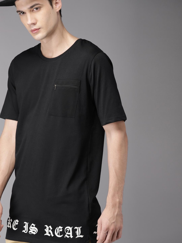 f5046e62d55d92 Buy Moda Rapido Men Black Back Print Round Neck Longline T Shirt ...