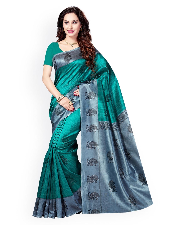 1f101abc70 Buy Ishin Green Printed Art Silk Saree - Sarees for Women 2442210 ...