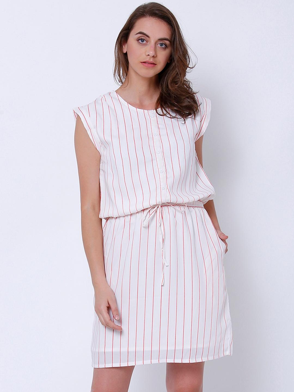 Tokyo Talkies Women White Printed Blouson Dress