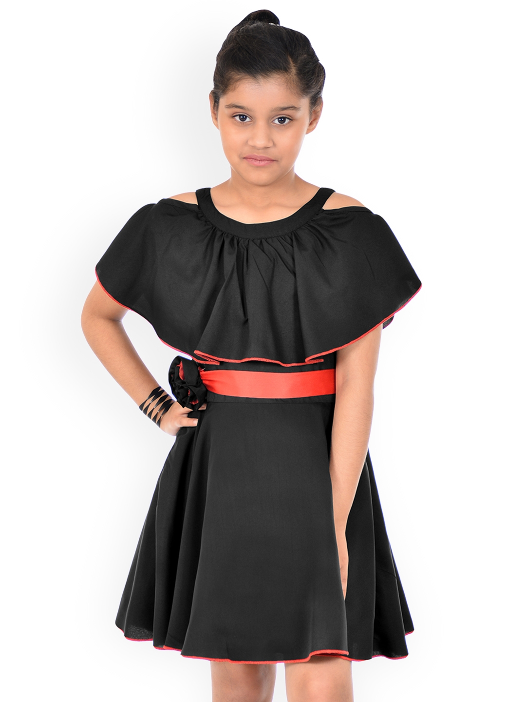 83c65c58877f Buy Naughty Ninos Girls Black Solid Fit And Flare Cold Shoulder ...