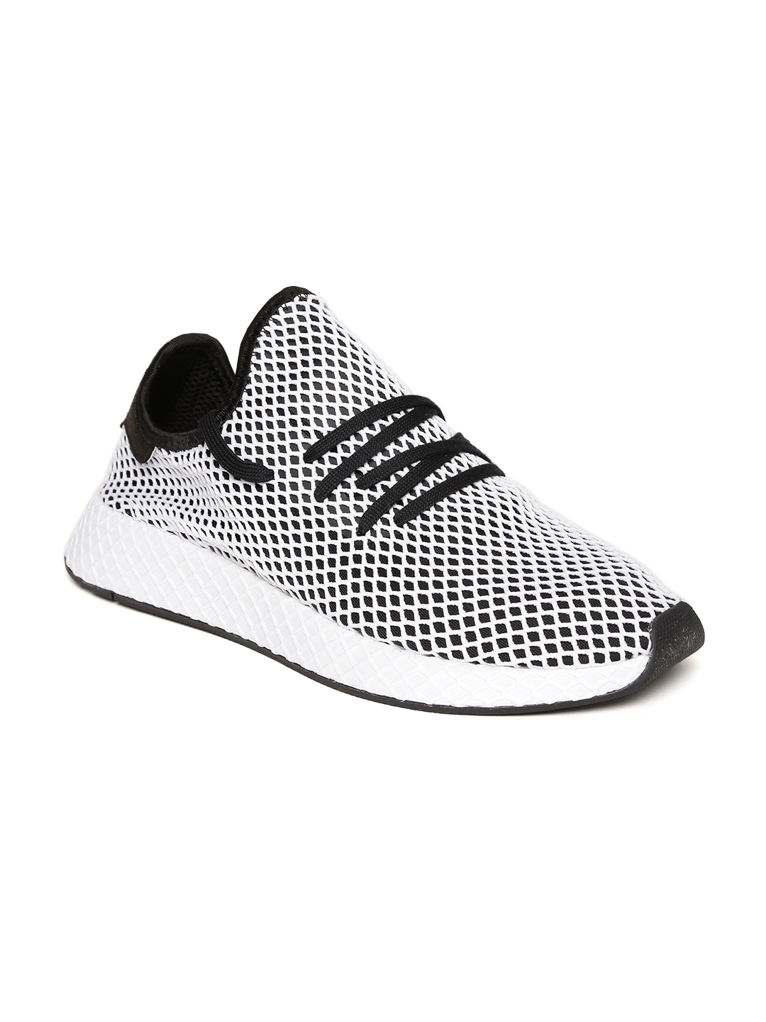 bdabc77a653c9 ADIDAS Originals Men White   Black Deerupt Runner Patterned Sneakers