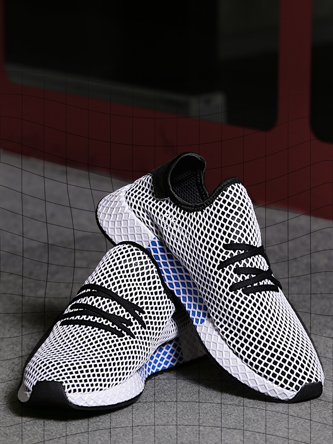 online retailer aada9 a4ced ADIDAS Originals Men White  Black Deerupt Runner Patterned Sneakers