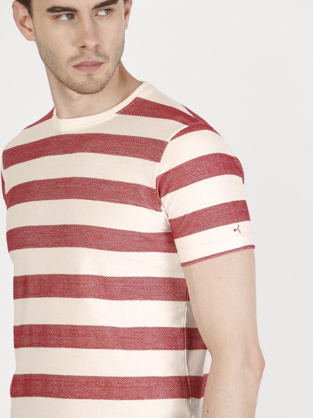 0e55f00960 Buy Ether Men White & Red Striped Round Neck T Shirt - Tshirts for ...