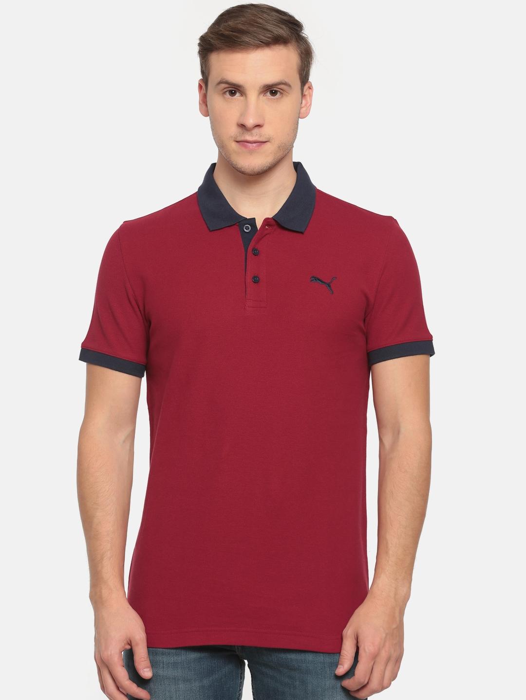ff94e803 Buy Puma Men Maroon Contrast Slim Fit Polo T Shirt - Tshirts for Men ...