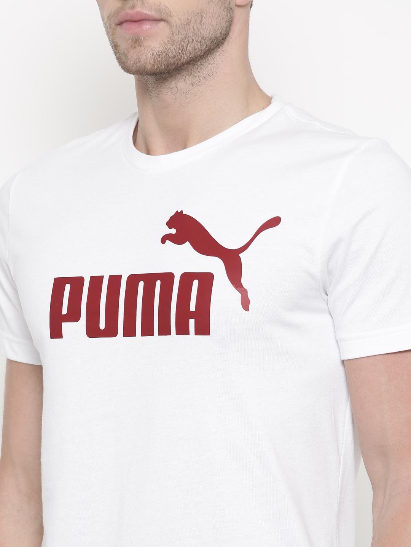 fa17cbc2ccb Buy Puma Men White Printed Round Neck ESS No.1 T Shirt - Tshirts for ...