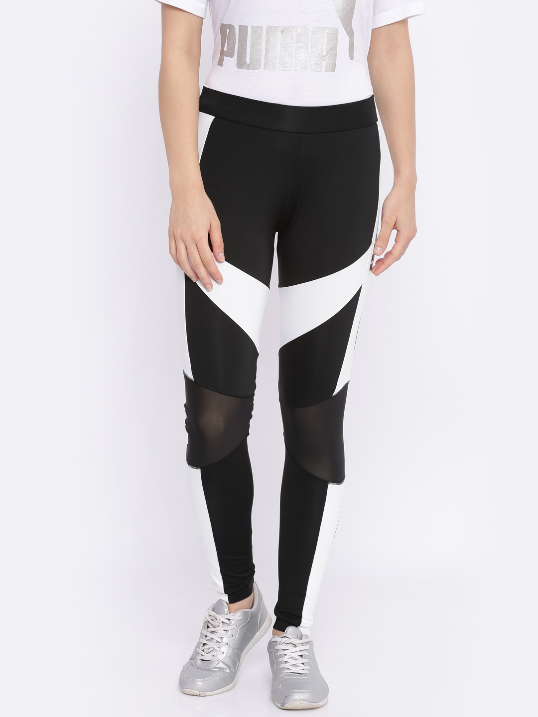 b01986e4406af Buy Puma Black & White Archive T7 Tights - Tights for Women 2445991 ...