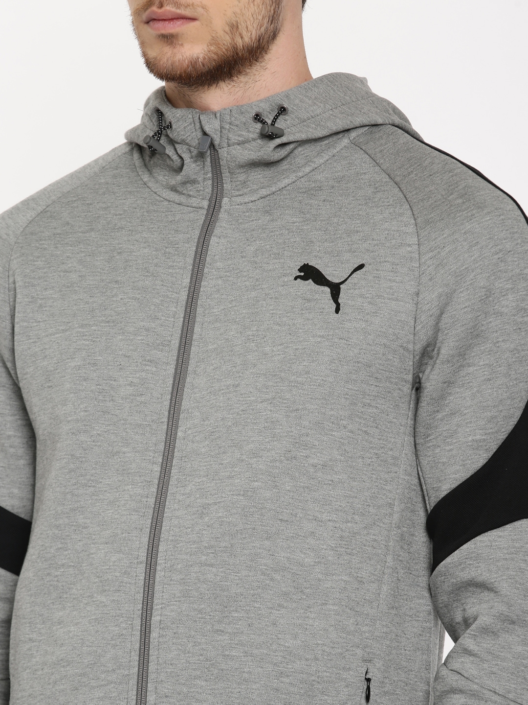 4797b6da5360 Buy PUMA MEN Grey Melange Evostripe Move FZ Hoody Sweatshirt ...
