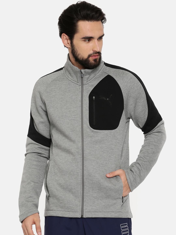 19b405a7f482 Buy PUMA MEN Grey Evostripe Move Slim Fit Jacket - Jackets for Men ...